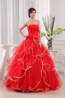 Bez ramienok Dĺžka podlahy Elegantné Organza Stupňová Prom Obleko