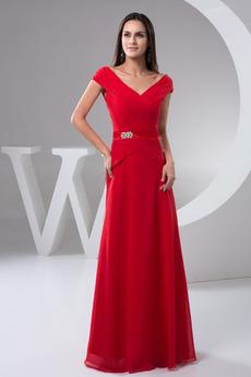 Limitovaný rukávy Skladaný A-Riadok Krátke rukávy Večerné šaty