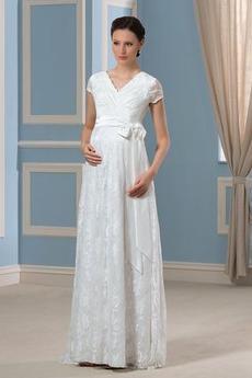 Materstvo Elegantný Ilúzia rukávmi Vonkajšie Čalúnené Svadobné šaty