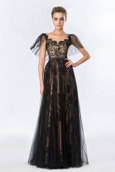 Čipka Elegantné Dĺžka podlahy Jeseň Tyl A Riadok Večerné šaty