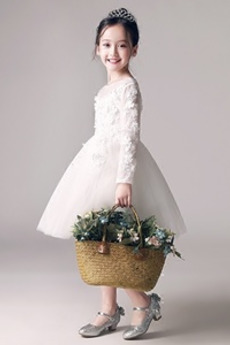 Kolená Dovolenka Výšivka Zips hore Dlhými rukávmi Kvetinové šaty