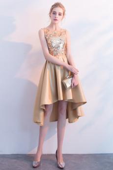 Asymetrické Vyšívaný korzet Bez rukávov Asymetrické Koktejlové šaty