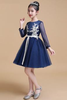Čipka Elegantné Kolená Dlhými rukávmi A-Riadok Kvetinové šaty