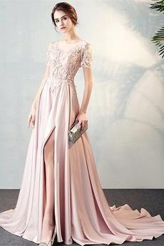 Elegantný Čipkou Overlay Prednej štrbinou Ilúzia rukávmi Večerné šaty