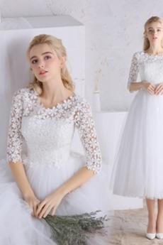 Čipka Zips hore Prírodné pása Tri štvrtiny rukávy Svadobné šaty
