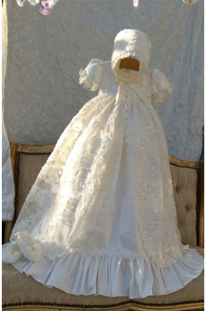 Princezná Čipka Prírodné pása Dlhé Krátke rukávy Krištáľové šaty