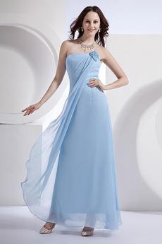 Šifón Pošva Členok dĺžka Kvety Pláž Svetlo modrá Družičky šaty