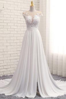 Prednej štrbinou Letné Dlhé Číre zadné Šperk Nášivky Svadobné šaty