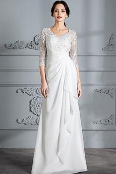 Číre zadné Prírodné pása Dlhé Tri štvrtiny rukávy Svadobné šaty