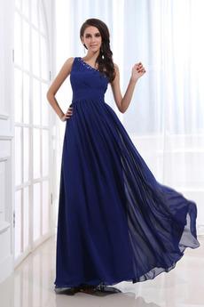 Prírodné pása Šifón Elegantné Polnočná modrá Zvrásnený Večerné šaty