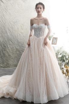 Bez ramienok Luxusným Limitovaný rukávy Dlhé Navliekanie korálok Svadobné šaty