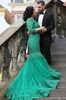 Zašnurovať topánky Čipka Dlhými rukávmi Elegantné Večerné šaty