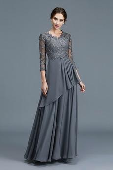Čipkou Overlay Elegantné Dlhé rukávy Nášivky Zips hore Matné šaty