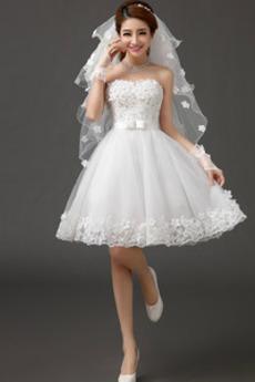 Bez ramienok Očarujúce Letné S diakritikou luk Svadobné šaty