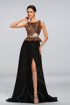 Bez rukávov Dlho A Riadok Číre zadné Chýbať Vyšívaný korzet Večerné šaty