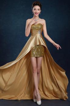 Asymetrické Rozdeliť vpredu Luxusným Stretch satén Večerné šaty