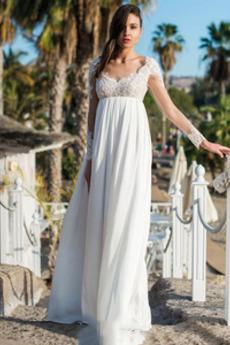 Dĺžka podlahy Ríša Prírodné pása Ilúzia rukávmi Svadobné šaty