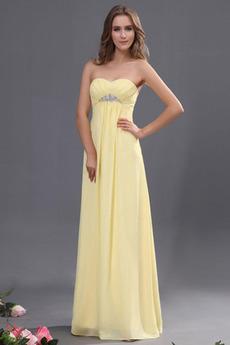 Bez ramienok Jeseň Ríša pasu Dĺžka podlahy Elegantné Večerné šaty