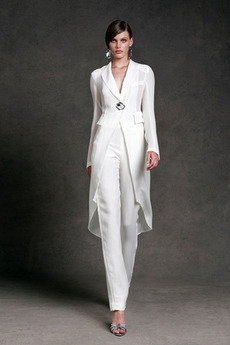 Členok dĺžka Oblek na nohavice Šifón Dlhé rukávy Matka šaty obleky