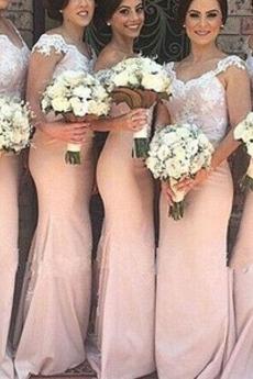 Off rameno Pošva Lopta Atlas Elegantné Čipkou Overlay Družičky šaty