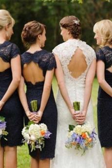 Elegantné Vyšívanie Klenot Chýbať Kolená Kľúčová dierka späť Družičky šaty