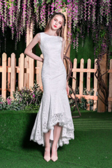 Morská panna Pláž Elegantný Pružina Čipkou Overlay Svadobné šaty