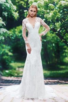 Tesný Satén Elegantné Zips hore V krku Jeseň Tenké Svadobné šaty