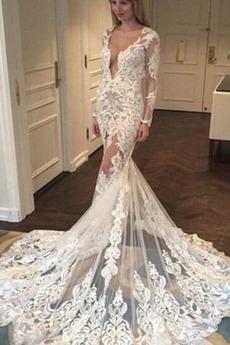 Dlhými rukávmi Formálne Hlboký výstrih Prírodné pása Svadobné šaty