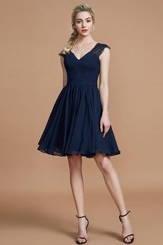 Elegantné V krku A Riadok Hlboký výstrih Kolená Družičky šaty