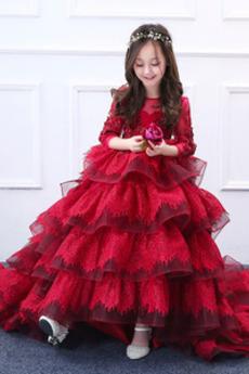 Čipka Formálne A Riadok Zips hore Organza Dlhými rukávmi Kvetinové šaty