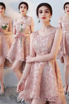 Čipka Prírodné pása Off rameno Asymetrické S hlbokým výstrihom Družičky šaty