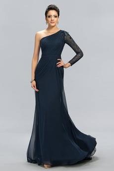 Morská panna Svadobné Prírodné pása Dlhými rukávmi Večerné šaty