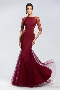 Letné Elegantný Zips hore Nášivky Ilúzia rukávmi Večerné šaty