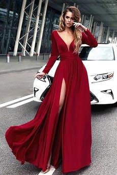 Drobunký A Riadok Zimné Elegantné V krku Hlboký výstrih Večerné šaty