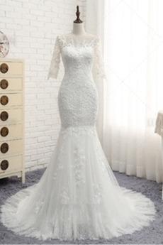 8db099b52a23 Krátke rukávy Gombík Vonkajší Prírodné pása Morská panna Svadobné šaty