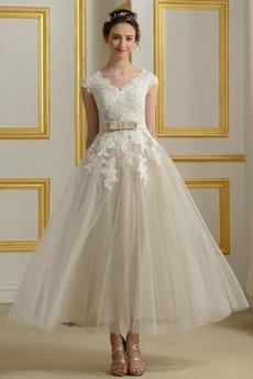 Tyl A-Riadok Elegantné Chýbať Zips hore Čaj dĺžka Svadobné šaty