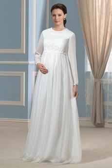 Plusová velkosť Elegantný Klenot Dĺžka podlahy Svadobné šaty
