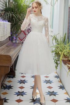 S hlbokým výstrihom Nášivky A Riadok Dlhé rukávy Svadobné šaty