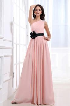 Šifón Emmy Bez rukávov Perla ružová Prírodné pása Družičky šaty