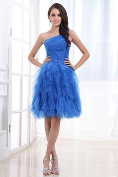 Princezná Kaskádové Prírodné pása Kolená Nevädza modrá Večerné šaty