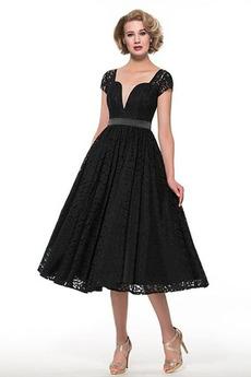 Limitovaný rukávy A-Riadok Elegantné Hojdačka Čipkou Overlay Matné šaty