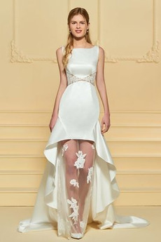 Vonkajší Bez rukávov Asymetrické Prírodné pása Svadobné šaty