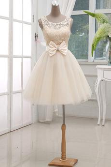 Prostý Bez rukávov Čipka Kolená Lúk Princezná Prírodné pása Družičky šaty