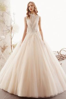 Prírodné pása Elegantné Lúk Viacvrstvový Vysoká krk Svadobné šaty
