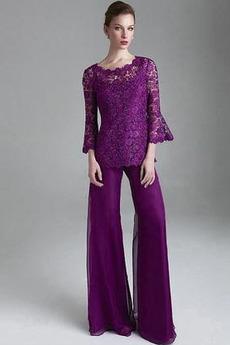 Ilúzia rukávmi Šifón Oblek Členok dĺžka Čipka Matka šaty obleky
