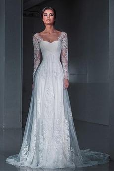 Ilúzia rukávmi Námestie Elegantný Prírodné pása Svadobné šaty