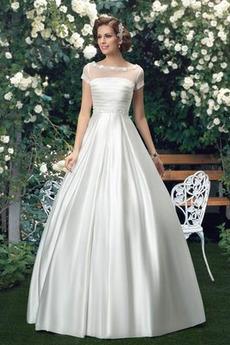 Inverzný trojuholník Cirkevné A Riadok Krátke rukávy Svadobné šaty