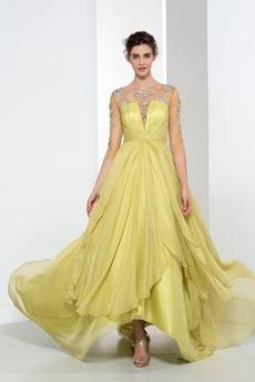 Vidieť skrz Elegantné A-Riadok Ilúzia rukávmi Letné Večerné šaty
