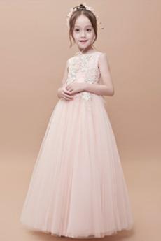 Tyl Klenot Vyšívanie Svadobné A-Riadok Pružina Kvetinové šaty