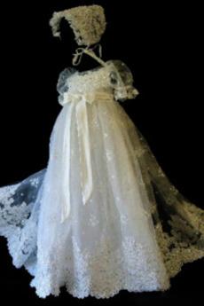 Navliekanie korálok Balón rukávmi Drobunký Dlhé Krištáľové šaty